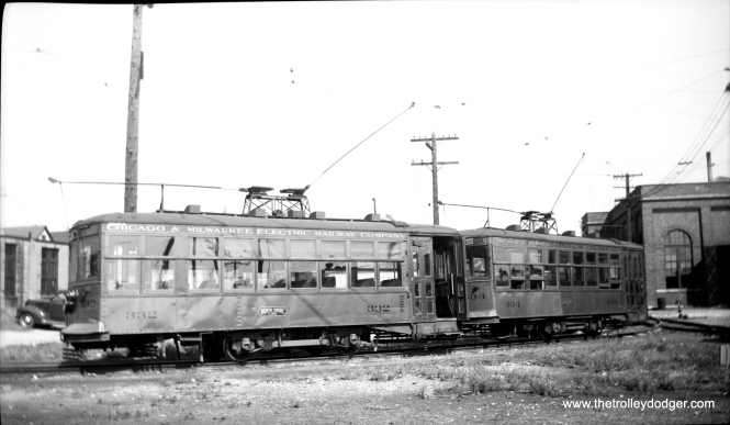 North Shore Birney cars 332 and 334 at Harrison shops in 1948. (Charles K. Willhoft Photo)