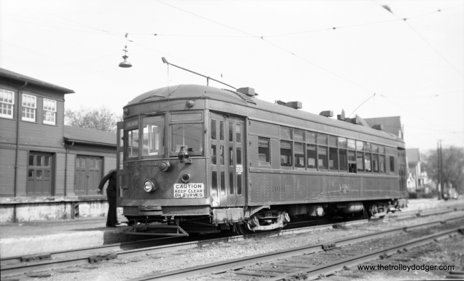 North Shore city streetcar 360 at 5th and Harrison in Milwaukee on May 12, 1949.
