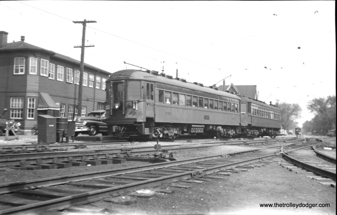 Cars 757 and 168 at 5th and Harrison in Milwaukee on May 12, 1949. Car 757, built by Standard Steel Car Company in 1930, is preserved at the Illinois Railway Museum.