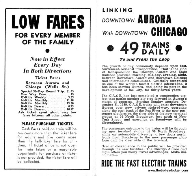 A CA&E timetable announcing a change in the right-of-way entering Aurora, effective December 31, 1939.