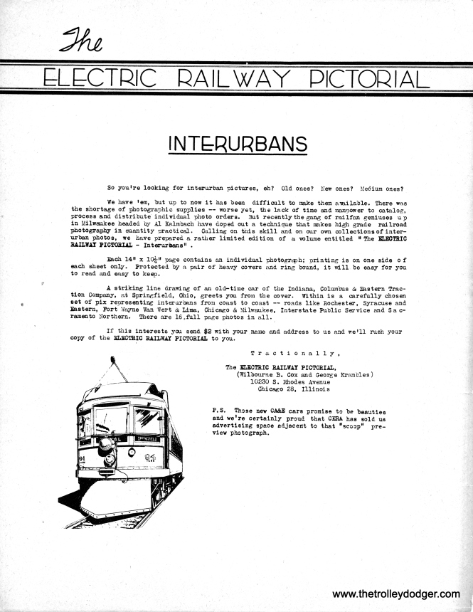 An advertising insert for the Electric Railway Pictorial (1945).