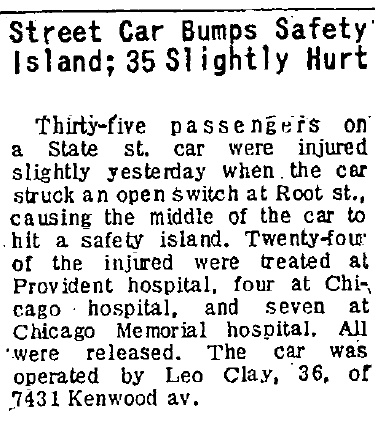 On July 18, 1949, the Chicago Tribune reported on the accident where CTA PCC 7205 was damaged. It was later apparently repaired using part of the body from car 7078, from a disastrous crash the following year, where 33 people were killed.