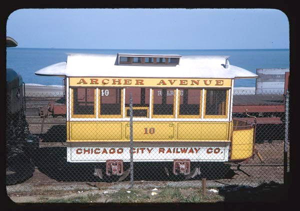 This supposed Chicago City Railway horse car #10 was actually a 1930s replica. It was also used at the Chicago Railroad Fair. This picture was taken by Charles Cushman (1896-1972) in 1949. (Charles W. Cushman Collection, University Archives, at Indiana University, Bloomington.)