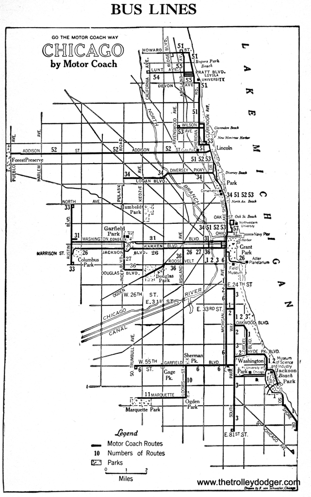 Chicago Motor Coach's routes as of 1943.