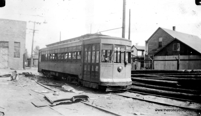 Chicago and Calumet District Transit Company #70, the last car to be scrapped. It was built by the St. Louis Car Company. We see it here at the Hammond Barn on September 8, 1940. These lines were abandoned in June 1940.