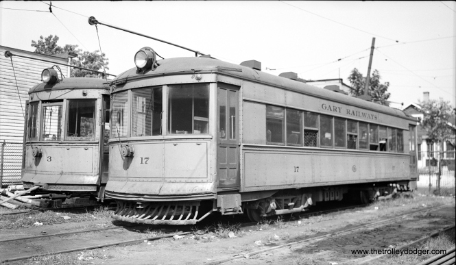 Gary Railways #17 and #3. The body of a sister car, #19, is preserved at the Illinois Railway Museum.