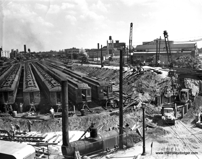 Construction of a turning loop at Howard Yard, 1949-50. This photo was the subject of the correspondence that follows.
