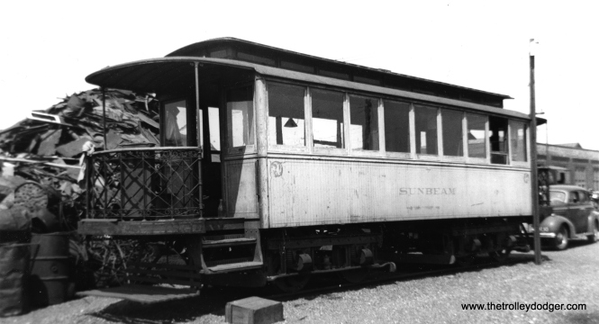 "Don's Rail Photos says the ""Sunbeam"" was built by Pullman in 1891. It was used as a party car, later for storage. (Joe L. Diaz Photo) This car doesn't even have a number!"