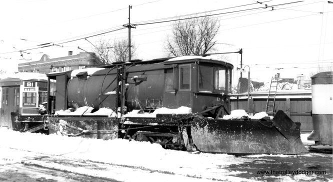 A snow plow, converted from two sprinkler cars, at Elston Avenue Station (car house). (Joe L. Diaz Photo)