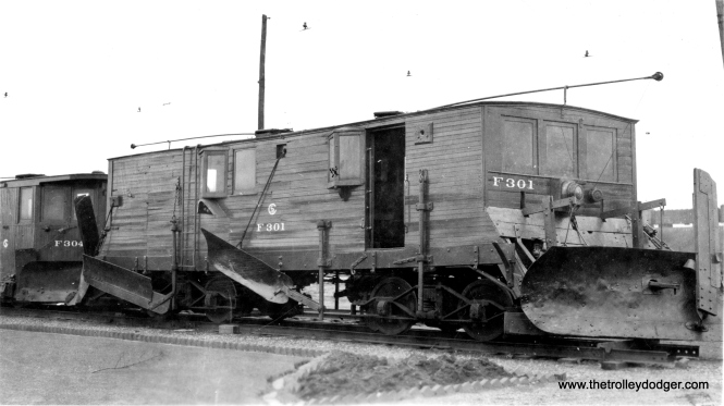 Home-made snow plows F301 and F304. Chances are these were scrapped prior to the 1947 CTA takeover of CSL.