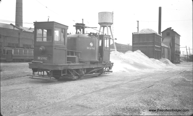 Sand car R202 at South Shops in March 1948. (C. Edward Hedstrom, Sr. Photo)