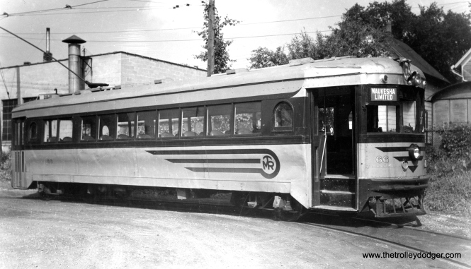 "Speedrail car 66, shown here on the Waukesha loop, was a Cincinnati ""curved-side"" car. It had formerly been used by both Lehigh Valley Transit and the Dayton and Troy. This car, after having been refurbished for Speedrail, was only in service for a short period of time before the line quit in 1951."