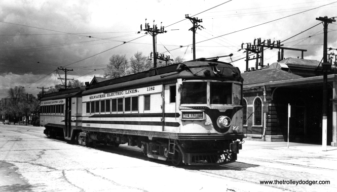 "Don's Rail Photos says, ""1182-1183 was rebuilt from an I&C (Indianapolis & Cincinnati Traction Co.) car in 1929 and scrapped in 1952."" The car is shown at the North Side station in Milwaukee, signed for the Port Washington interurban line."