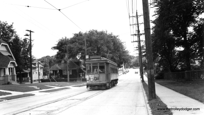 "The caption to this photo reads, ""City car - Milwaukee. Last 2-man car pulling into station on last run in West Allis."" Charles Kronenwetter adds, ""Car 638 appears to be coming Northbound on 84th St approaching the National Ave intersection."" Don's Rail Photos: ""638 was built at Cold Springs in 1913. It was reconditioned as a two man car in 1928."""