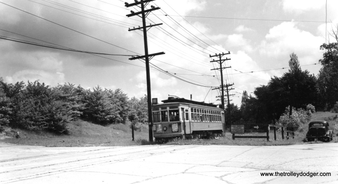 "Don's Rail Photos says, ""589 was built by St Louis Car Co in 1911. It was rebuilt in 1927."" This car is shown at the end of one of the Milwaukee city streetcar lines in West Allis. Charles Kronoenwetter says, ""589 is coming off the short section of private right-of-way which ran between Mitchell St. and Becher St. onto Becher St."""
