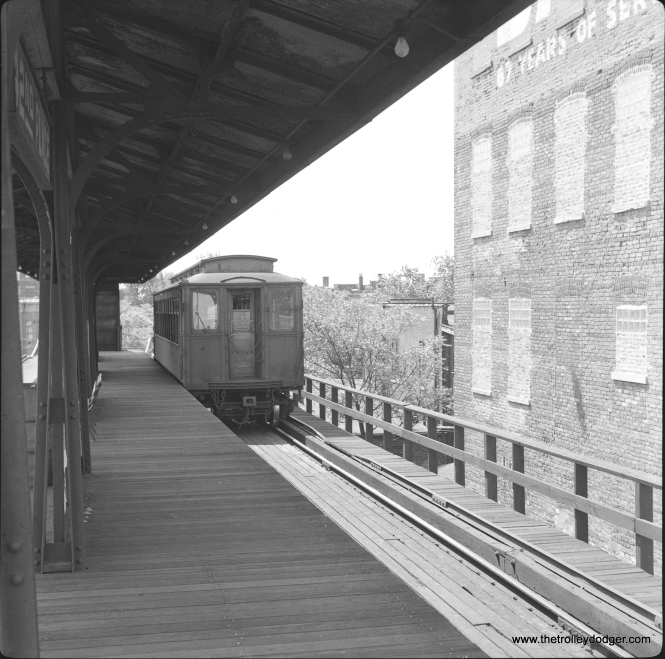 "A Kenwood shuttle car at 42nd Place terminal on June 12, 1957. November 30 was the last day of service on this branch. Andre Kristopans notes, ""The Kenwood car at Indiana is actually laid up and not in service. The old NB track was where a spare car would be put away."" (Lawrence H. Boehuring Photo)"