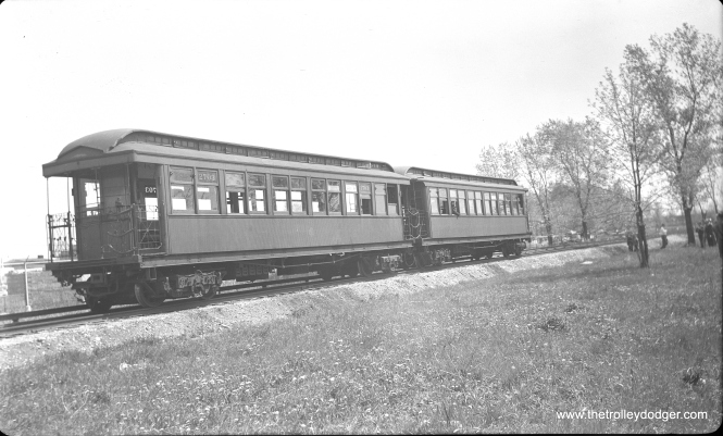 CTA 2703-2753 at the east side of Skokie Shops on May 1, 1955. This was a Central Electric Railfans' Association fantrip that included a shops tour.