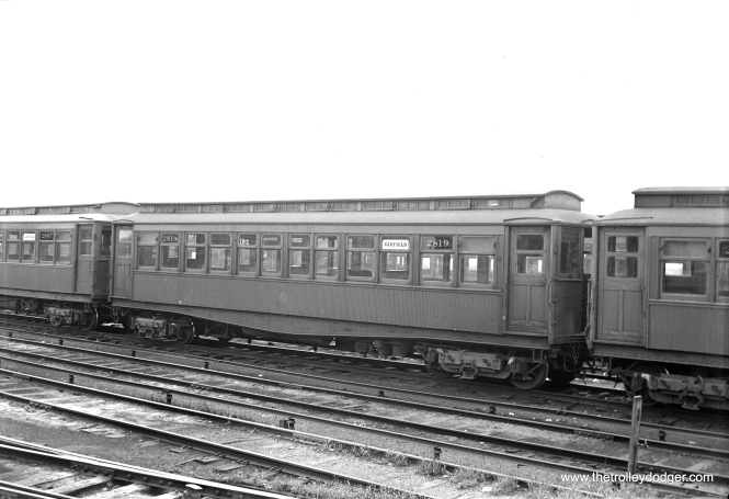 CTA Met car 2819, signed for Garfield Park, at Laramie Yard in August, 1954.