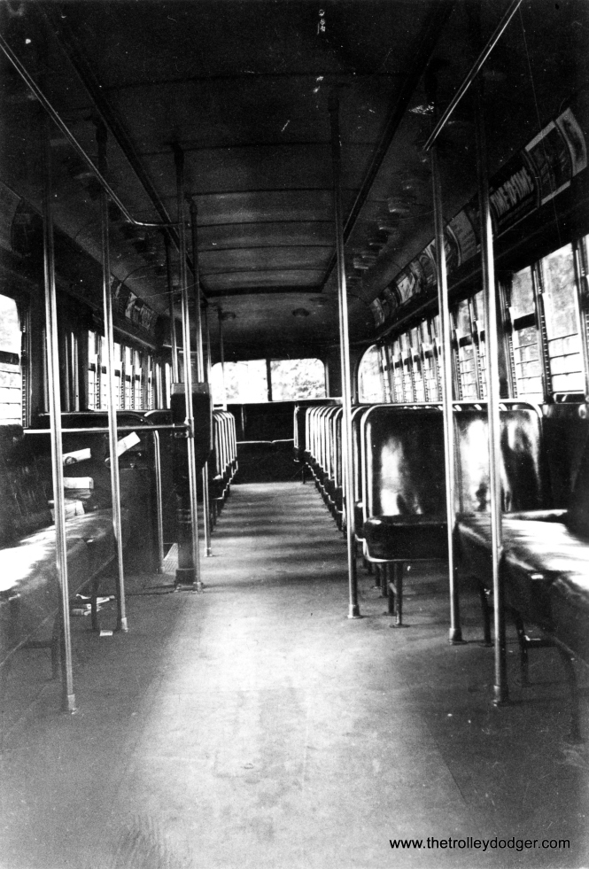 The interior of prewar PCC 4051, as it appeared in July 1939, at the Madison and Austin loop. Circa 1940-41, CSL modified the doors on this car as part of their work on the development of the postwar cars. With the revised configuration, 4051 was tested extensively on route 56 - Milwaukee, which did not otherwise use PCCs. (S. Walker Photo)