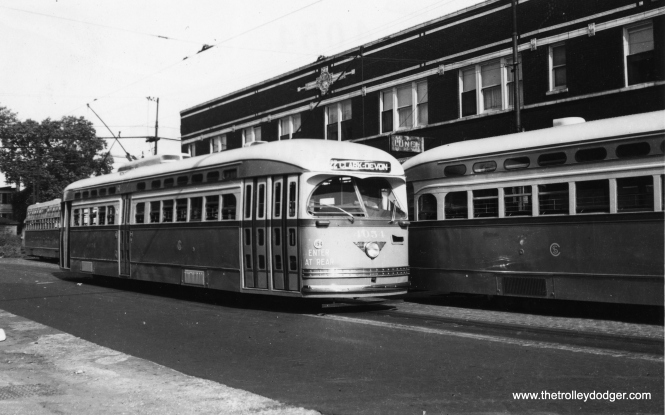 St. Louis PCC 4054 at 81st and Halsted. It was delivered on July 17, 1947 and scrapped on January 10, 1957, a service life of less than 10 years. (Railway Negative Exchange Photo)