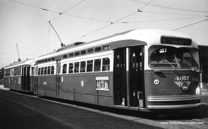 PCC 4057 is laying over at Cottage Grove and 115th before heading north on route 4. (Railway Negative Exchange Photo)