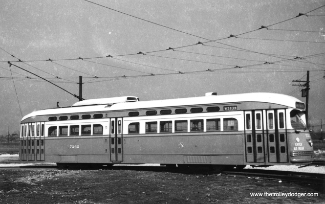 CTA PCC 7262 at the Western and 79th loop when it was brand new. (Railway Negative Exchange Photo)