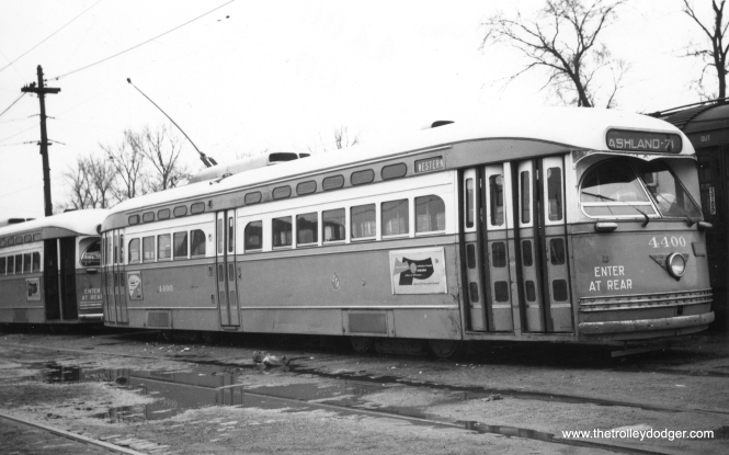 CTA 4400 at Ashland and 71st. This picture was probably taken in the Fall of 1952. (Railway Negative Exchange Photo)