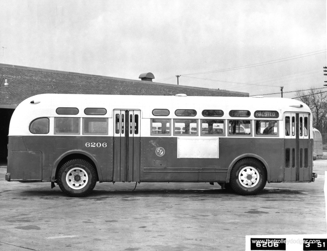 "CTA 6206, a GM gas bus, built in 1942, in March 1951. The photo caption says that one bus in this series, #6306, was a diesel, used on 115th Street. Andre Kristopans adds, ""In March 1951 CTA sent a photographer out to shoot exteriors and interiors of every bus and trolley bus series in the city. Most of the GM/Yellows were at Beverly Garage at the time. The 6200 photo caption is a bit incorrect. The 6201-6220 series were gas TG-3205's, while the 6301-6306 were indeed diesels, TG-3605's, one window and four seats longer."" (Chicago Transit Authority Photo)"