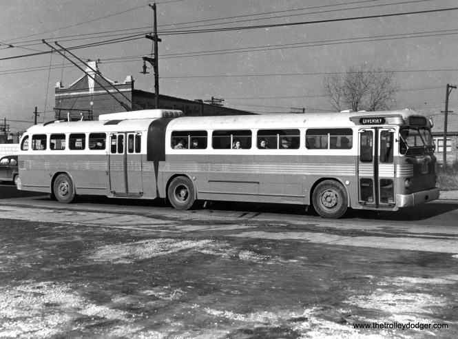 "CTA 9763, dubbed the ""Queen Mary"" by fans, was an experimental articulated bus that was converted to a trolley coach. It is now preserved at the Illinois Railway Museum. (Krambles-Peterson Archive)"