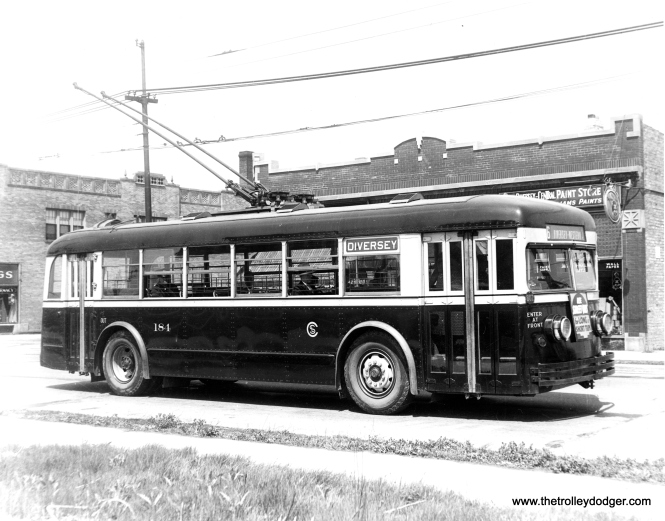 CSL trolley bus 184. Interestingly, a sign on the front urges people to ride streetcars for short and long trips. (CSL Photo, Krambles-Peterson Archive)