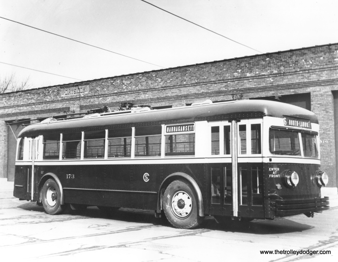 CSL trolley bus 173, built by St. Louis Car Company in 1935, signed for route 86 - Narragansett. (CSL Photo, Krambles-Peterson Archive)