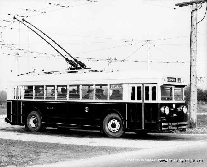 CSL trolley bus 106 on route 76 - Diversey on November 14, 1930. (Railway Negative Exchange)