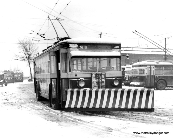 A 1931 CSL trolley bus equipped with a snow plow. (CSL Photo, Krambles-Peterson Archive)