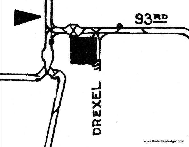 A closeup view of the tracks around Burnside Station circa 1946.