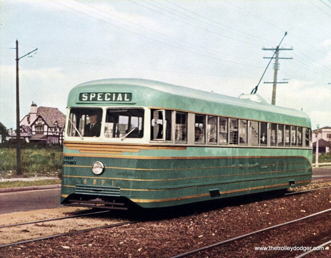 "According to Don's Rail Photos, ""Atlantic City and Shore 6891 was built by Brill in July 1938, #23646. It was renumbered 6901 in 1940 and renumbered 201 in 1945. It was scrapped in 1956."" The light green color on this car is said to be an exact match for how 7001 was originally painted. (General Electric Photo)"