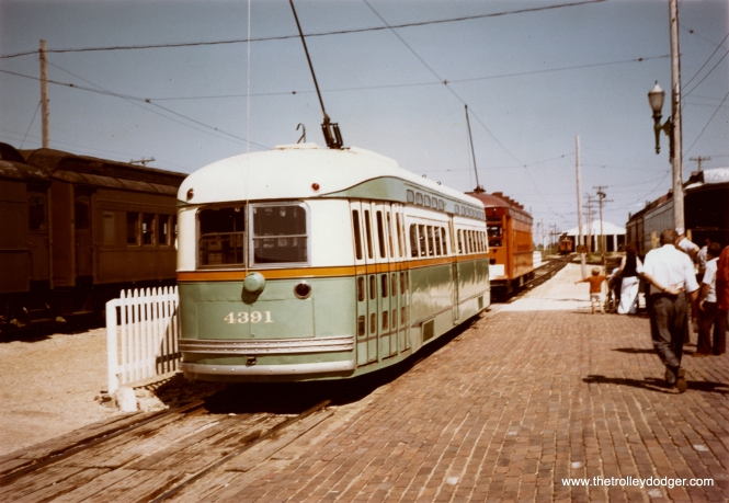 An undated view of PCC 4391 at the Illinois Railway Museum, probably in the 1980s.