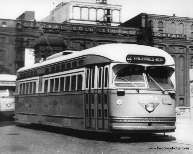 CTA 7254, southbound on Clark and Wacker on April 6, 1950, having just crossed over the Chicago River. (Traction Chicago Photo)
