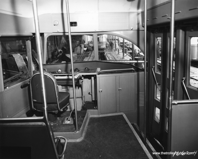 The interior of a PCC on the St. Louis Car Company assembly line. Car 7227 is ahead, which means this is probably either 7226 or 7228. All were delivered to CTA on March 29, 1948.