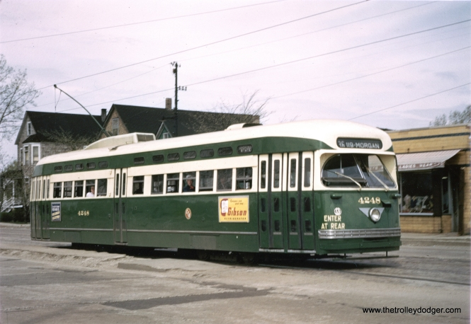 It's May 1951, and CTA 4248, newly repainted in Everglade Green and Cream, is at 119th and Morgan on the south end of route 36 - Broadway-State. There is an ad for Gibson refrigerators on the side of the car-- not the same company that makes guitars. (Krambles-Peterson Archive)
