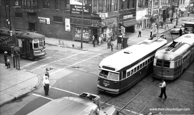 CTA 4248 is heading north on Halsted at Root on the south side in this July 21, 1952 view. The occasion was the Democratic Convention, held at the nearby International Amphitheatre, which took place from July 21 to the 26th. The Republican Convention was held there as well between July 7th and the 11th. The Dems nominated Illinois Governor Adlai Stevenson for president, and the GOP General Dwight D. Eisenhower. (Thomas H. Desnoyers Photo, Krambles-Peterson Archive)