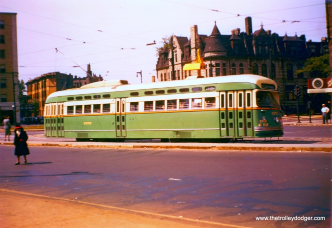 PCC 4232 is northbound on Clark at Armitage (on route 22) in this June 1948 view. Note the lack of either a CSL or CTA logo on the side of this car. (Krambles-Peterson Archive)