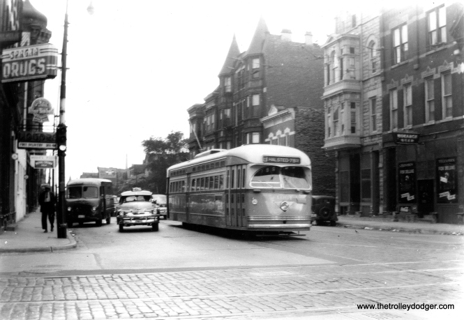 PCC 4061, a St. Louis product, southbound on Halsted. (Ed Frank, Jr. Photo)