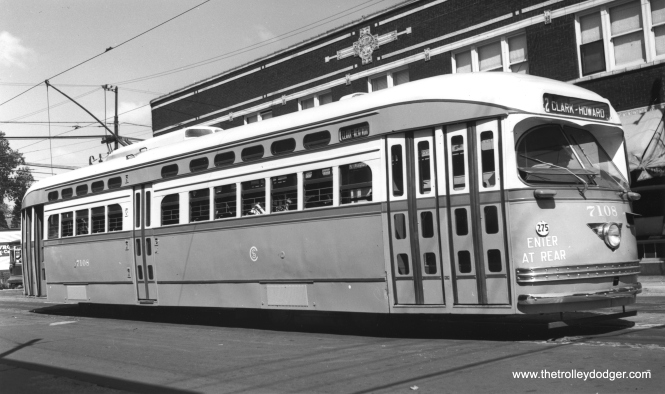 CSL 7108 at 81st and Halsted on August 15, 1947. (James J. Buckley Photo, Krambles-Peterson Archive)