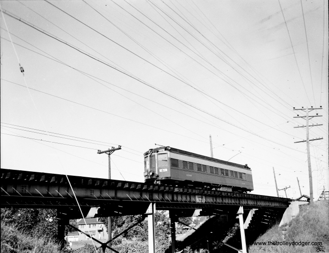 Milwaukee Electric Railway (The Milwaukee Electric Railway & Transport Co.) car 1137, westbound on the Rapid Transit Line, 68th Street Bridge, July 22, 1949.