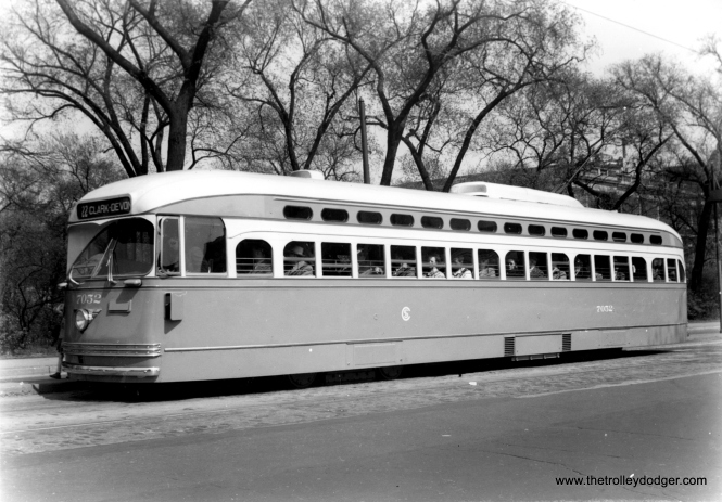 Car 7052 heading north on Clark near Lincoln Park. (Edward Frank, Jr. Photo)