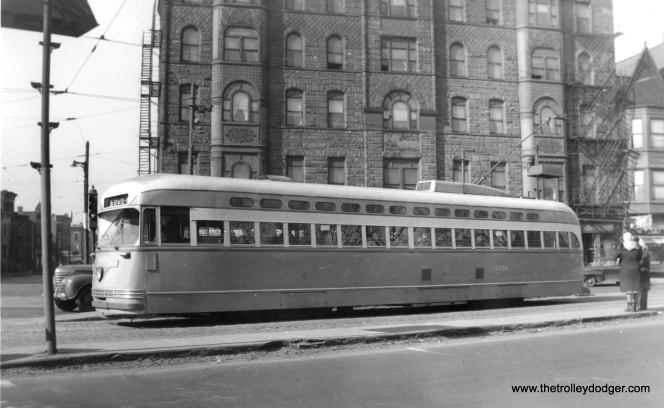4158, a southbound Broadway-State car, at Clark and Armitage in 1949. (Edward Frank, Jr. Photo)