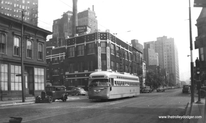 4151 northbound at Clark and Webster in 1947. Not sure what a French laundry does. (Edward Frank, Jr. Photo)