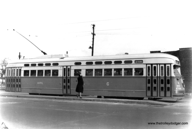 George Trapp thinks this photo of 4076 is either on Vincennes or the wide part of Clark. (Edward Frank, Jr. Photo)