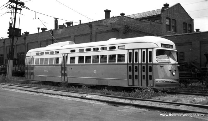 CSL 4062, the first postwar PCC delivered, as new at 77th and Vincennes, most likely in September 1946. (Joe L. Diaz Photo)