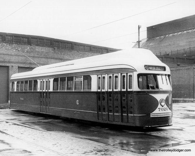 PCC 7026, fitted with experimental roof-mounted forced air ventilation, of a type that was used in Boston, but did not find favor in Chicago. (Krambles-Peterson Archive)